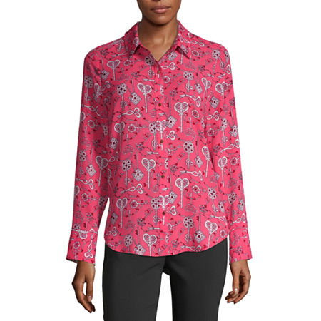 Liz Claiborne Womens Long Sleeve Classic Fit Button-Down Shirt, Small , Pink
