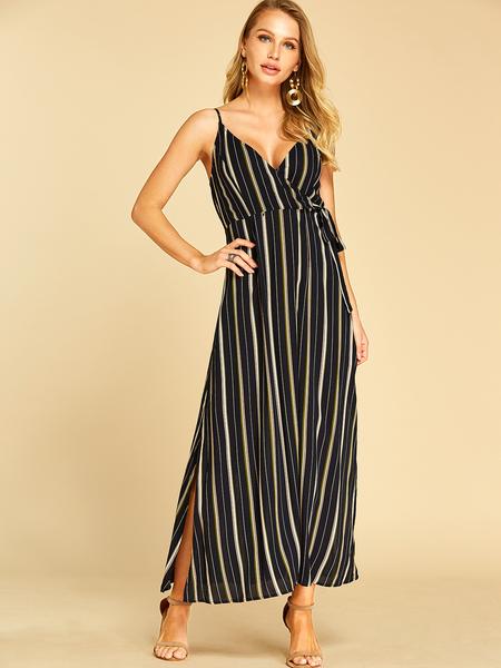 YOINS Black Self-tie Design Deep V Neck Sleeveless Dress