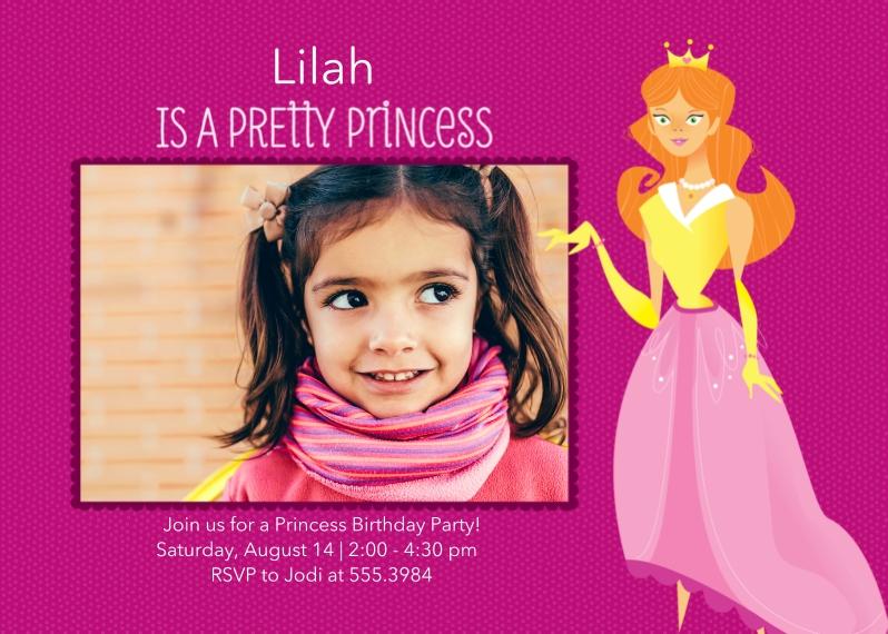 Kids Birthday Party Invites 5x7 Folded Cards, Standard Cardstock 85lb, Card & Stationery -Pretty Princess Birthday