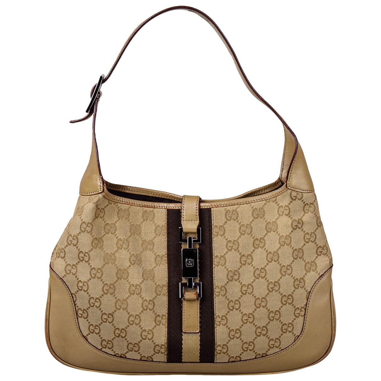 Gucci - Sac a main Jackie Vintage  pour femme en toile - beige