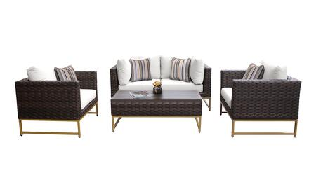 Barcelona BARCELONA-05c-GLD-WHITE 5-Piece Patio Set 05c with 2 Corner Chairs  2 Club Chairs and 1 Coffee Table - Beige and Sail White Covers with