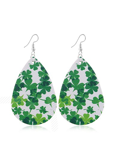 Mother's Day Gifts Clover Design Green Faux Leather Earrings - One Size