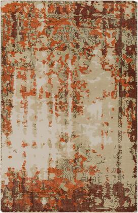 Hoboken HOO-1019 6' x 9' Rectangle Traditional Rug in Bright Orange  Dark Red  Dark Brown  Tan  Khaki
