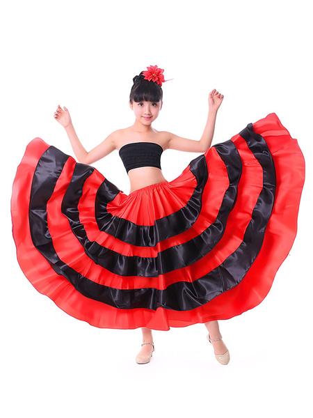 Milanoo Kids Dance Costumes Black Layered Billowing Skirts Flamenco Dress Paso Doble Spanish Skirt for Girls Halloween