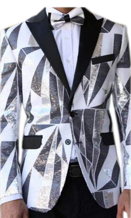 Mens Fancy Designed Black Peak Lapel White~Black tuxedo dinner jacket