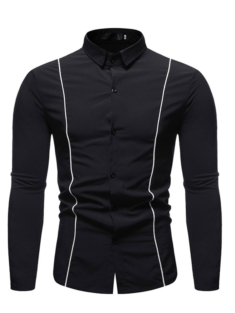 Ericdress Color Block Casual Lapel Single-Breasted Mens Shirt