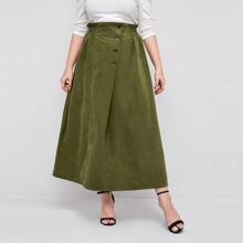 Plus Button Fly Paperbag Waist Solid Skirt