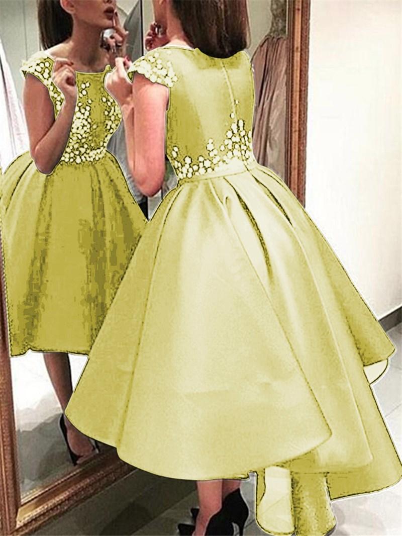 Ericdress Cap Sleeves Applique High Low Black Prom Dress