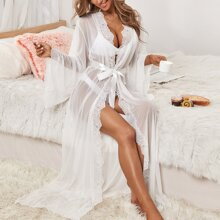 Mesh Contrast Lace Longline Belted Robe
