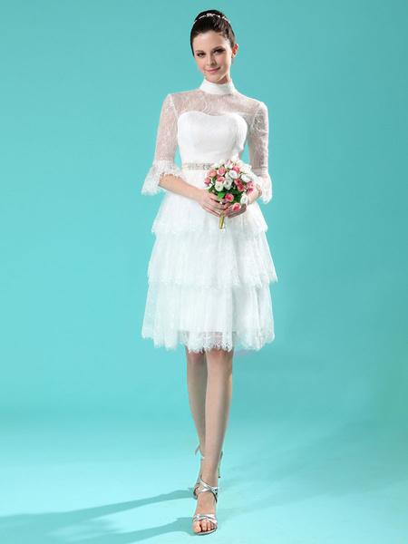 Milanoo Vestido de novia de encaje de color marfil con escote alto de estilo moderno