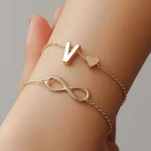 1pc Heart & Infinity Decor Layered Bracelet