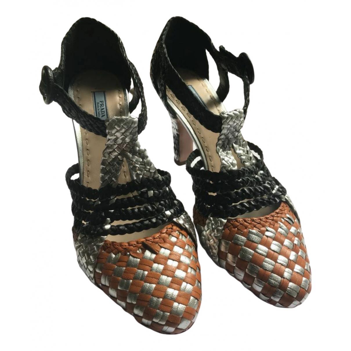 Prada N Multicolour Leather Heels for Women 37.5 EU