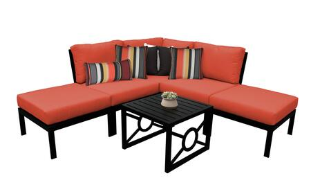 MADISON-06b-TANGERINE Kathy Ireland Homes and Gardens Madison Ave. 6 Piece Aluminum Patio Set 06b with 1 Set of Snow and 1 Set of Persimmon
