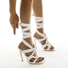 Tie Leg Stiletto Heeled Sandals