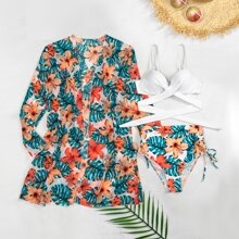 3pack Floral & Tropical Twist Bikini Swimsuit With Kimono
