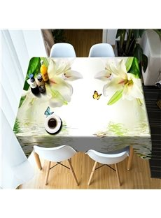 Beautiful Lily Flowers and Butterflies 3D Oil-Proof and Water-Proof Party and Home Table Cover