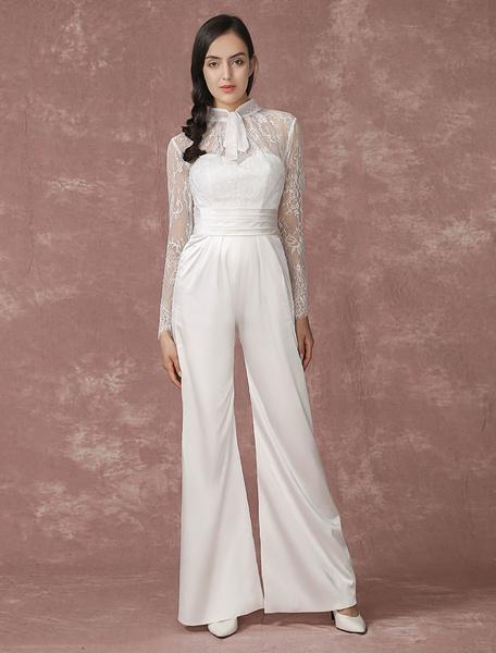 Milanoo Lace Wedding Jumpsuits Long Sleeves Bridal Wedding Pants Back Illusion Satin A-line Culottes Bridal Dress