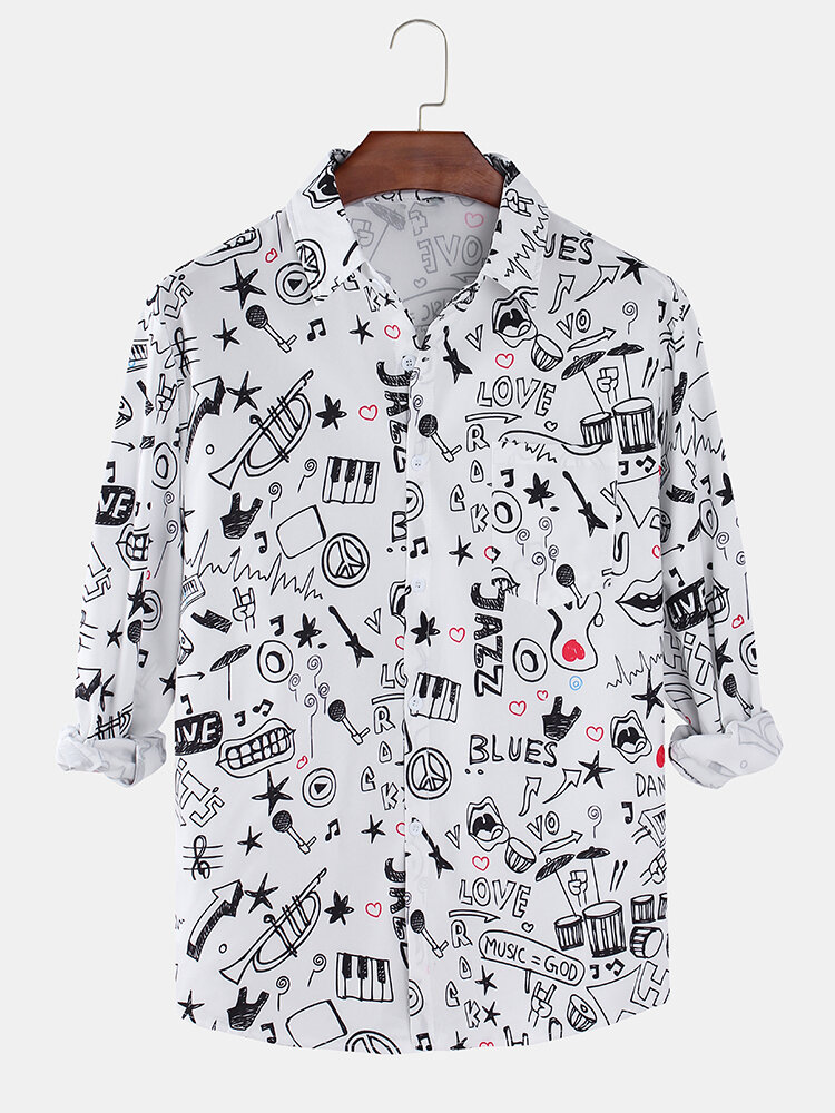 Mens Allover Funny Printed Light Casual Long Sleeve Shirts With Pocket