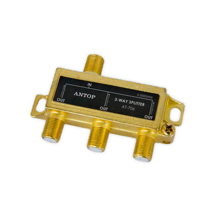 Coaxial Cable Splitter for Satellite/Cable TV Antenna, 2GHz - ANTOP® - 3 Way