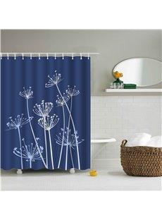 3D Dandelion Printed Polyester Blue Bathroom Shower Curtain