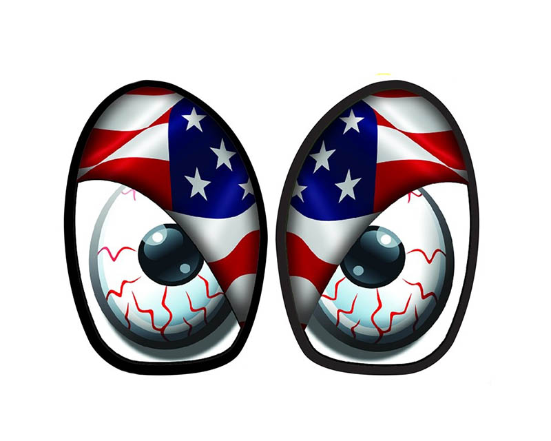 M7 Speed 92-9013 M7 R53 Eye Decal Set American Flag Color Mini Cooper JCW R53 02-06