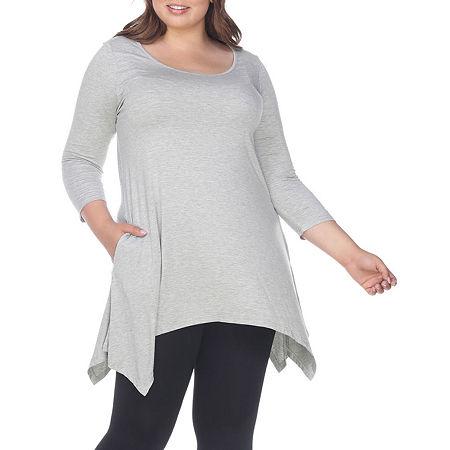 White Mark-Plus Womens Round Neck 3/4 Sleeve Tunic Top, 2x , Gray