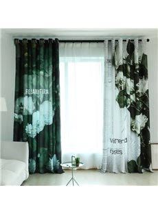Modern Style Black and White Rose 3D Painted Custom Semi-blackout Curtains