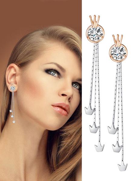 Milanoo Gold Drop Earrings Rhinestones Crown Fringe Dangle Earrings