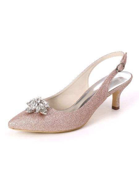 Milanoo Wedding Shoes White Sequined Cloth Rhinestones Pointed Toe Stiletto Heel Bridal Shoes