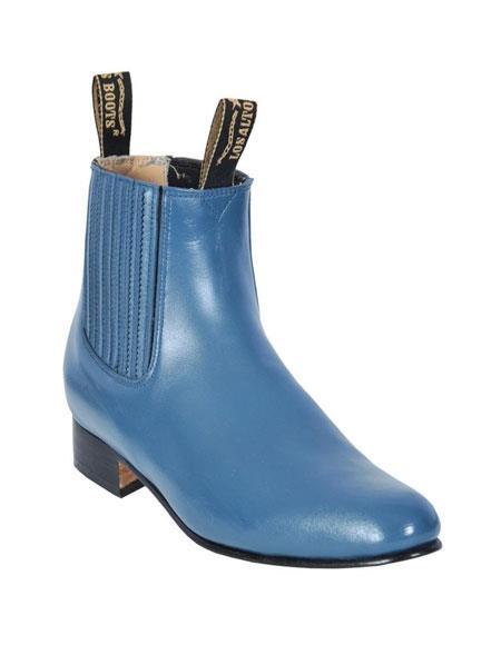Los Altos Charro Botin Short Ankle Deer Blue Jean Leather Boots