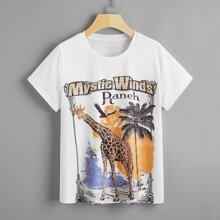 Letter & Giraffe Print Tee