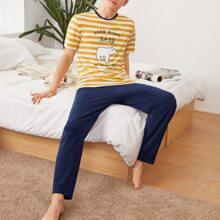 Conjunto de pijama top con estampado de slogan de rayas de dos colores con pantalones unicolor