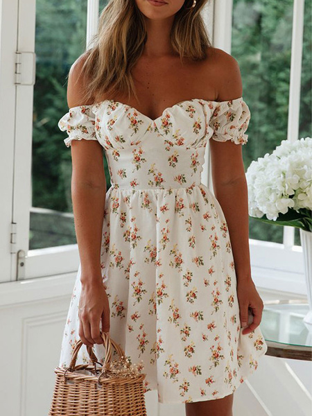 Milanoo Vestido Boho Cuello Bateau Manga Corta Vestido Estampado Floral Sin Respaldo Verano