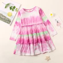 Toddler Girls Tie Dye Ruffle Hem Dress