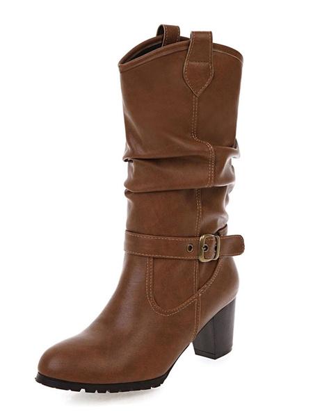 Milanoo de PU de puntera redonda botas altas mujer 6.5cm botas altas negras de tacon gordo negro  con hebilla Color liso para ocasion informal