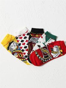 5pairs Poker Face Pattern Socks