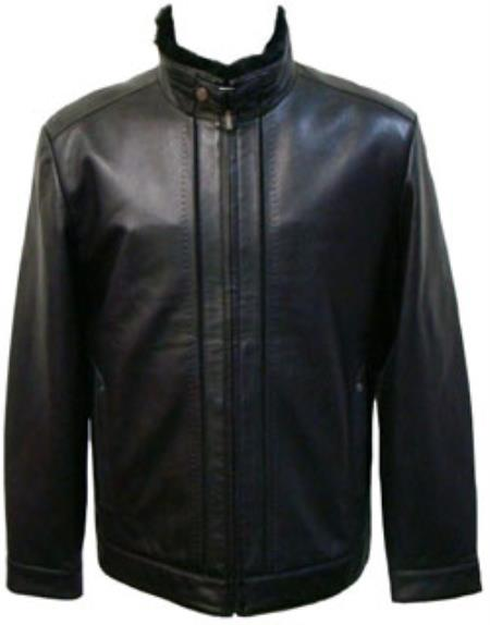 Mens Black Lamb Leather Removable Faux Fur-Lined Collar Jacket