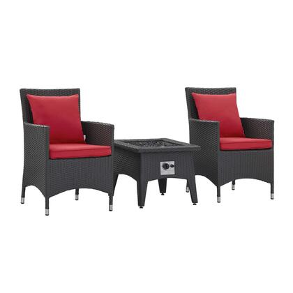 Convene Collection EEI-3729-EXP-RED-SET 3 Piece Set Outdoor Patio with Fire Pit with Water and UV Resistant PE Rattan Weave  Machine Washable