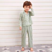 Toddler Boys Lapel Striped Button Front PJ Set