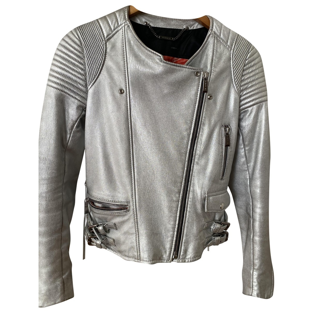 Barbara Bui \N Silver Leather Leather jacket for Women 36 FR