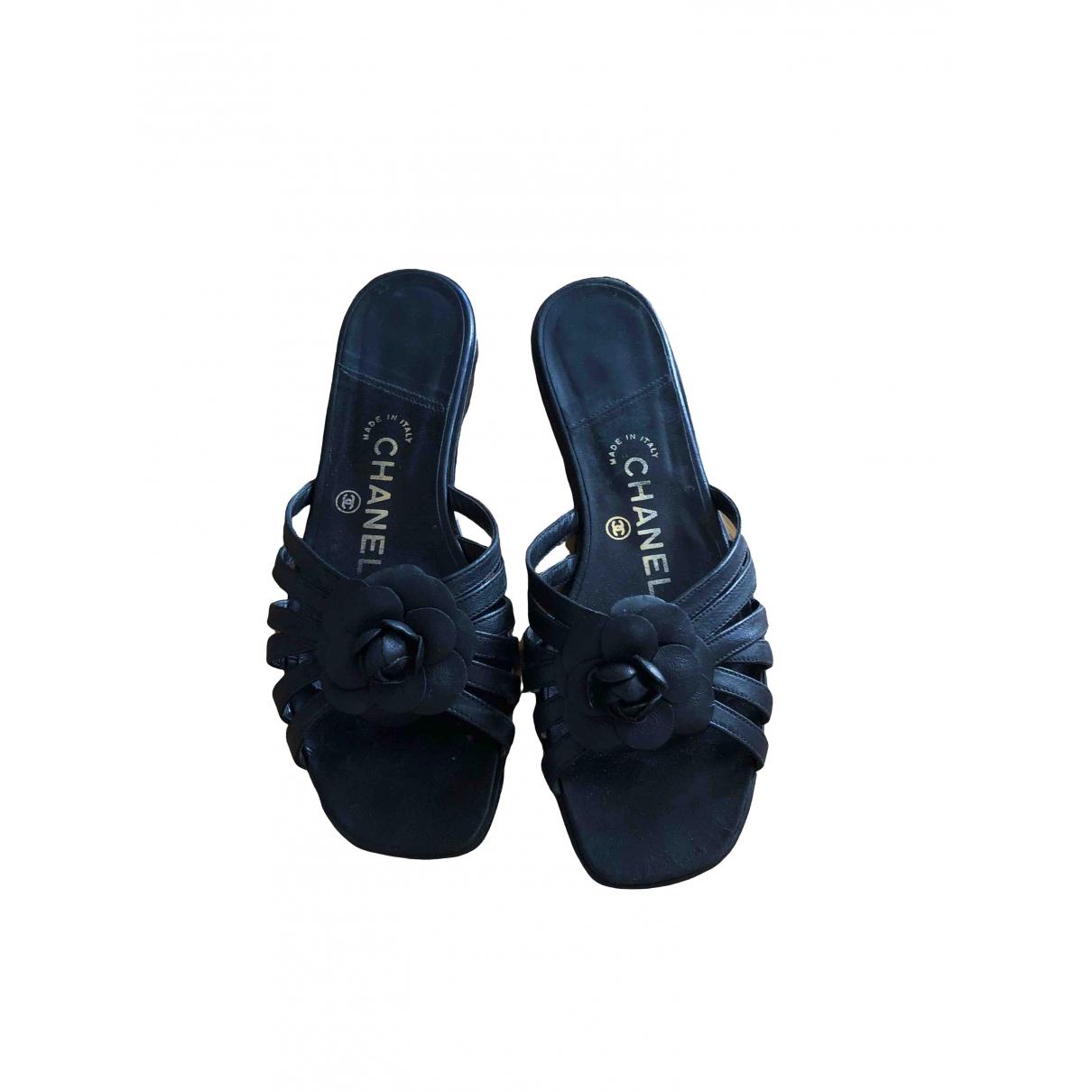 Chanel \N Black Leather Sandals for Women 37 EU