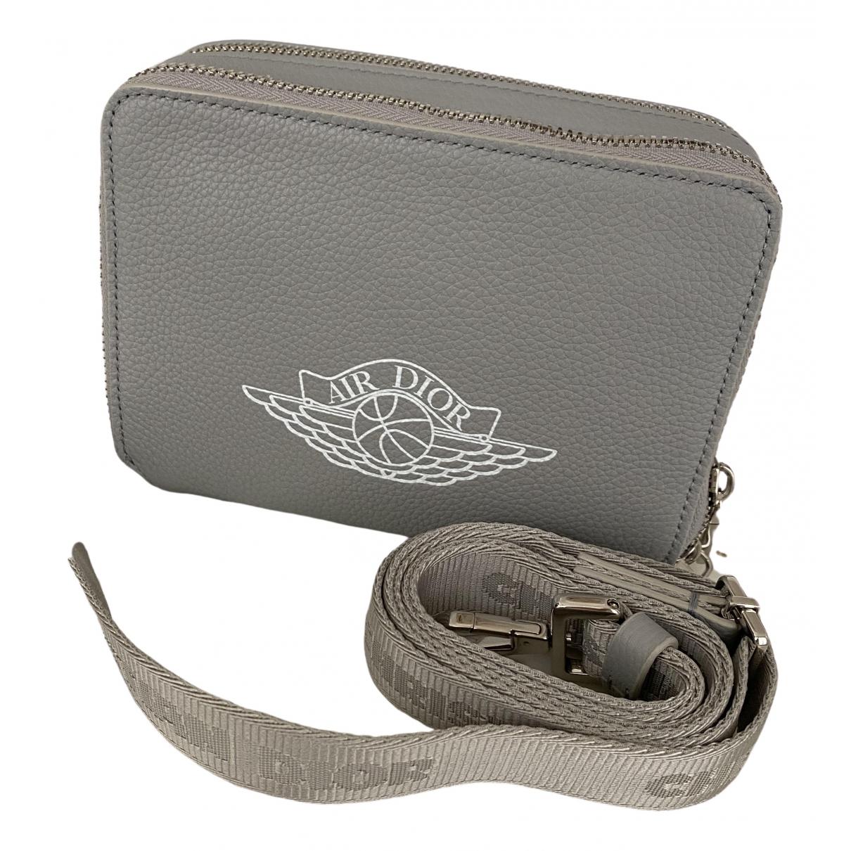 Jordan X Dior \N Grey Leather bag for Men \N