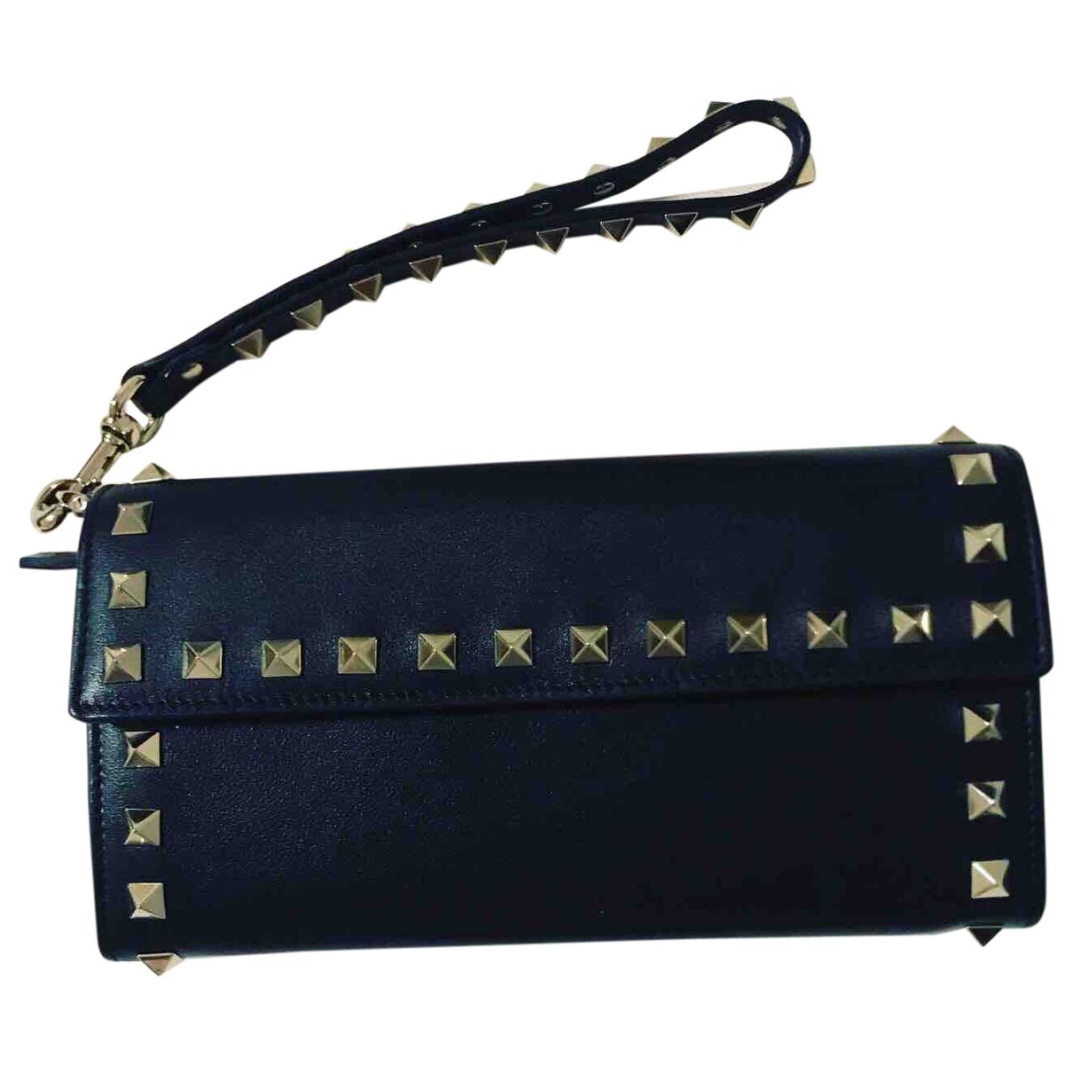 Valentino Garavani - Portefeuille   pour femme en cuir - noir