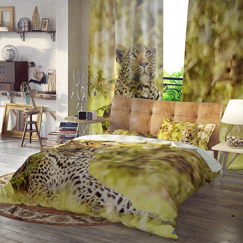 Leopard Three-Piece Set Duvet Cover Set Reactive Printing Polyester Bedding Sets Ultra-soft Microfiber No-fading Twin Full Queen King