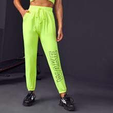 Sports Hose mit Buchstaben Grafik und Kordelzug um die Taille