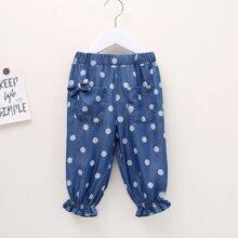Toddler Girls Polka Dot Bow Detail Jeans