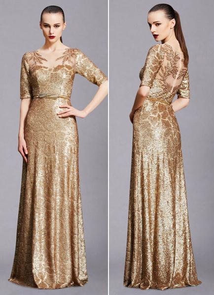 Milanoo Vestido de noche Color ligero de oro con 1/2 manga con escote barco con diseño hueco