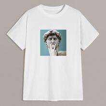 Men Statue Print Short Sleeve Tee