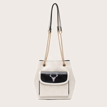 Two Tone Chain Shoulder Bag