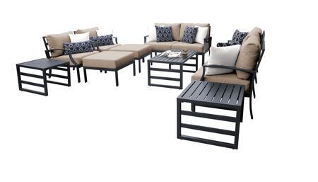 Lexington LEXINGTON-12h-WHEAT 12-Piece Aluminum Patio Set 12h with 2 Left Arm Chair  2 Right Arm Chair  2 Club Chairs  1 Armless Chair  2 Ottomans  2